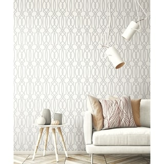 NextWall Soft Gray Deco Lattice Peel and Stick Removable Wallpaper - 20.5 in. W x 18 ft. L
