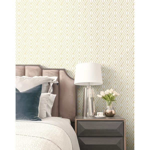 NextWall Gold Diamond Geometric Peel and Stick Removable Wallpaper - 20.5 in. W x 18 ft. L