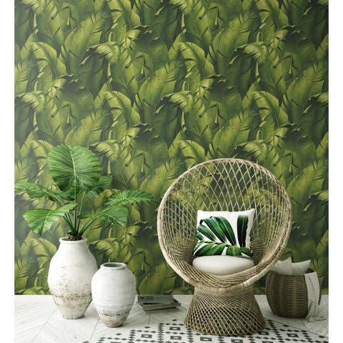NextWall Tropical Banana Leaves Peel and Stick Removable Wallpaper - 20.5 in. W x 18 ft. L