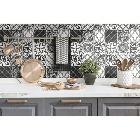 NextWall Black and White Graphic Tile Peel and Stick Wallpaper - 20.5 in. W x 18 ft. L