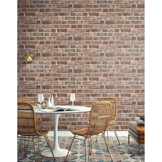 NextWall Distressed Red Brick Peel and Stick Removable Wallpaper - 20.5 in. W x 18 ft. L