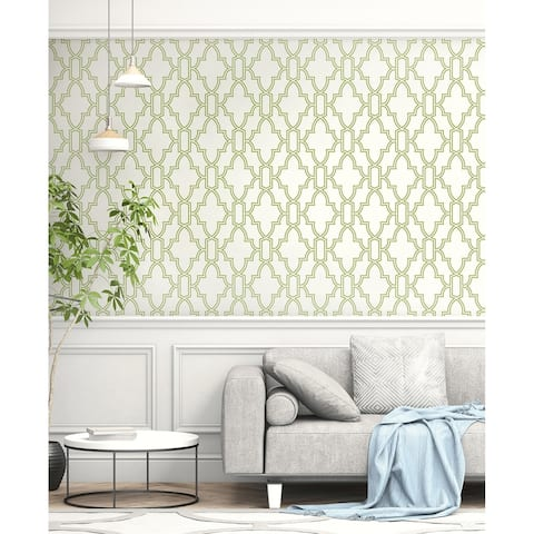NextWall Green and White Tile Trellis Peel and Stick Wallpaper - 20.5 in. W x 18 ft. L