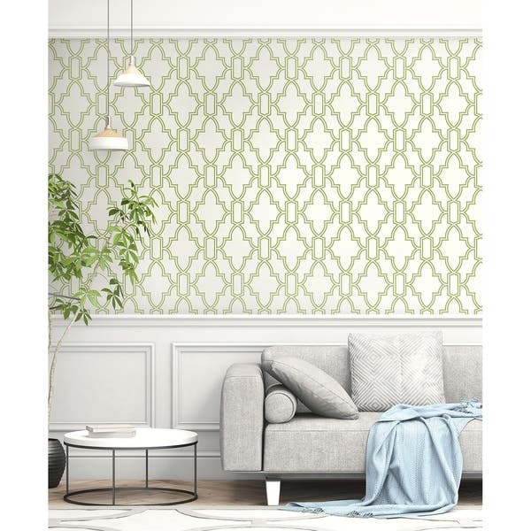 Shop Nextwall Green And White Tile Trellis Peel And Stick Wallpaper 20 5 In W X 18 Ft L Overstock 31053557