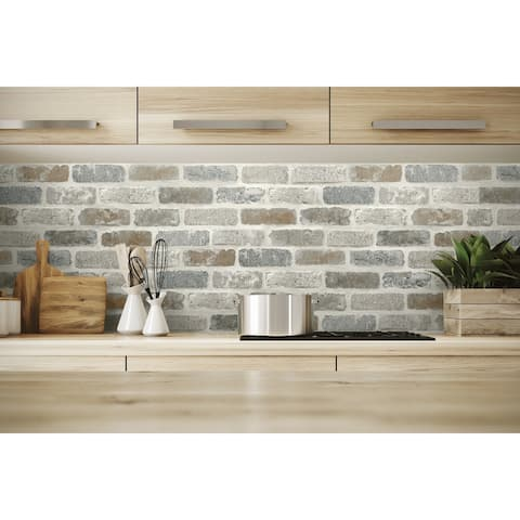 NextWall Washed Brick Peel and Stick Removable Wallpaper - 20.5 in. W x 18 ft. L