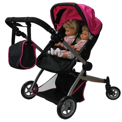 Babyboo Deluxe Twin Doll Stroller with Free Carriage 9651A Pink