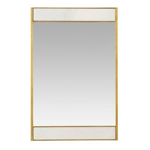 """Lina Modern Wall Mirror Gold with Marble - 32""""H x 21""""W x 2""""D"""