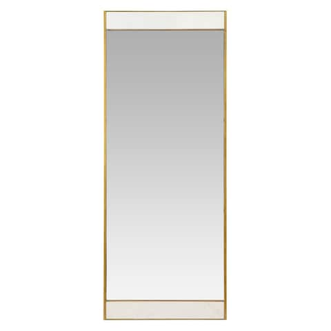 """Lina Modern Floor Mirror Gold with Marble - 70""""H x 28""""W x 2""""D"""