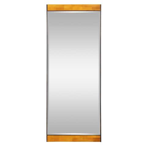 """Cliveden Industrial Wood & Metal Floor Mirror - 70""""H x 28""""W x 1.5""""D"""