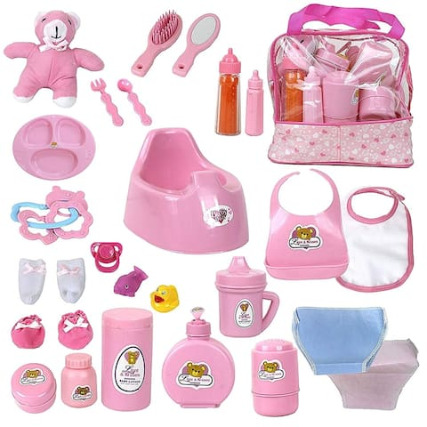 Baby Doll Feeding, Changing, and Accessories Set with Toy Bag