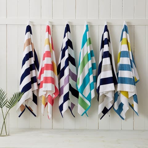 """Hermosa Collection Cabana Striped Reversible 4-Pack Beach Towel - 30"""" x 60"""""""