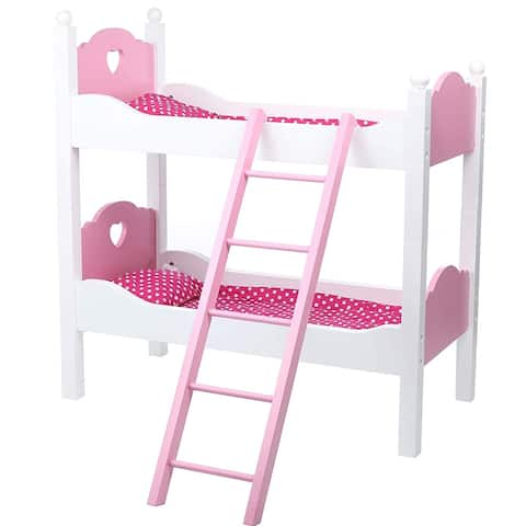 18 Inch Doll Wooden Bunk Bed or 2 Single Beds with Ladder and Bedding