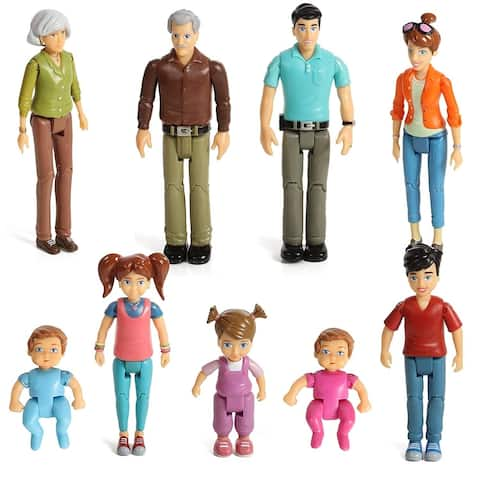 Sweet Li'l Family Dollhouse People Set of 9 Action Figure Set