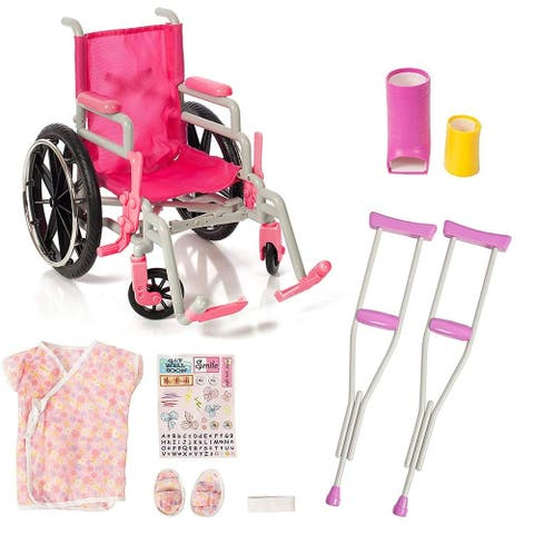 Wheelchair Set for 18 Inch Dolls, Wheelchair Crutches Casts and Gown