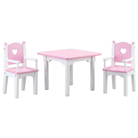 Wooden Furniture 18 Inch Doll Table and Chairs Accessories Set