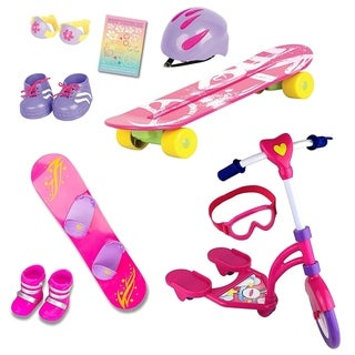 18 Inch Doll 12 Pc Sports Set Skateboard Snowboard Scooter Accessories