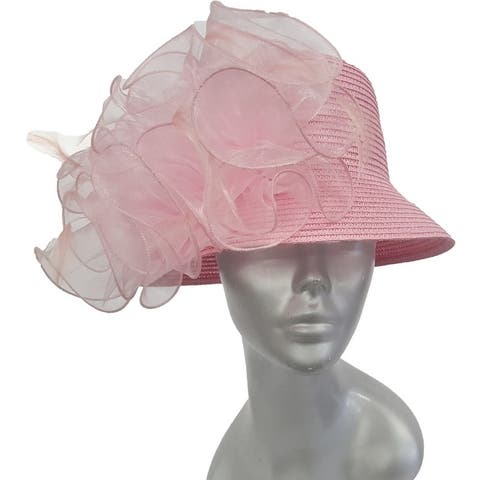 Hand-sewn Packable dressy paper braid straw cloche hat Pink