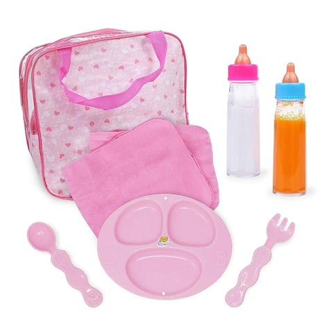 Doll Accessory 7 Piece Feeding Set in a Bag, Includes Magic Bottles