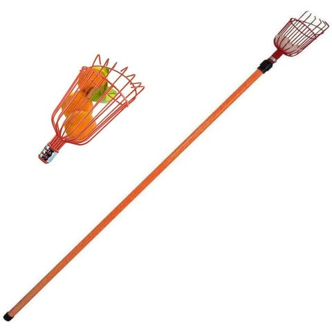 Metal Fruit Picker with Telescoping Metal 8 Foot Pole & Fruit Catcher - Reach Fruit up to 15ft Without Ladder