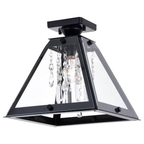 Tremont 12.5-in W Crystal Black Urban Loft Semi Flush Mount Ceiling Light - 12.5-in. W x 12.25-in. H x 12.5-in. D