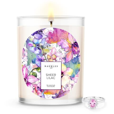 Baubles Scented Premium Candle and Jewelry with Surprise Ring inside 18 oz Large Candle Parrafin free