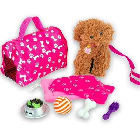 18 Inch Doll Puppy Playset Pet Dog with Leash, Carrier and More