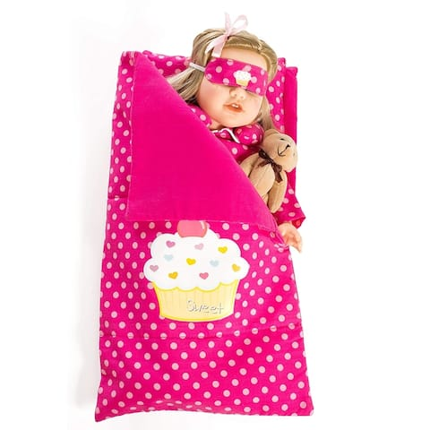 Reversible 18 Inch Doll Sleeping Bag, Pillow, Pajamas and Accessories