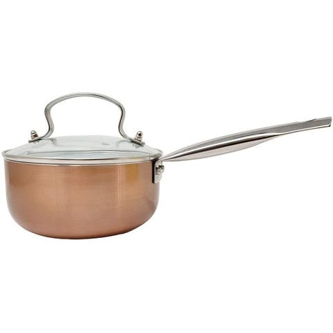 Copper Nonstick Ceramic Saucepan with Glass Lid & Stainless Steel Riveted Handle 2 Quart - PFOA & PTFE Free