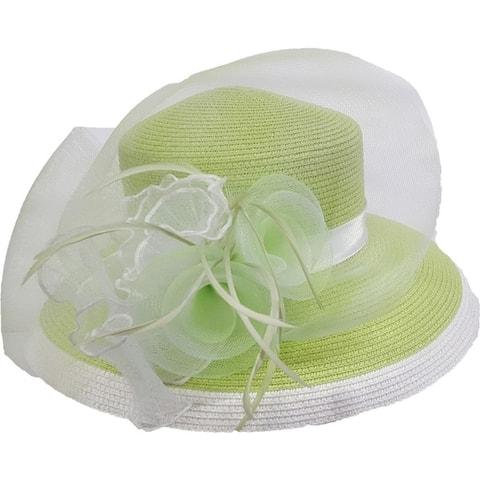 Women's wide Brim Paper braid summer, Derby, Easter two tone hat