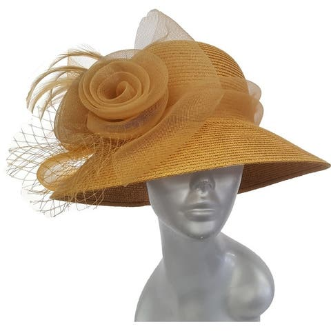 Tan dressy packable paper braid hand-sewn women's summer hat