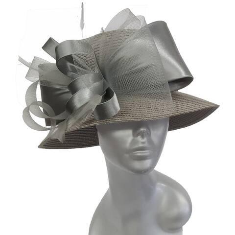 Grey Paper braid summer women's Derby, dressy, Easter hat