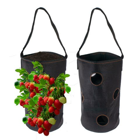 Vertical Garden Hanging Planter 7 Hole Bag for Strawberry & Bare Root Plants