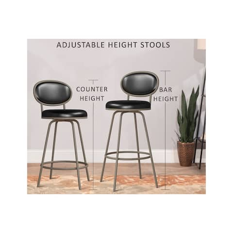 """Rollins Oval Upholstered Back Metal Adjustable Stool with Nested Legs, Champagne Silver - 16.5""""W x 17.5""""L x 37-41""""H"""