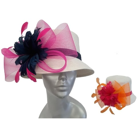Women's colored feathers poly braid cloche summer Derby Easter Hat