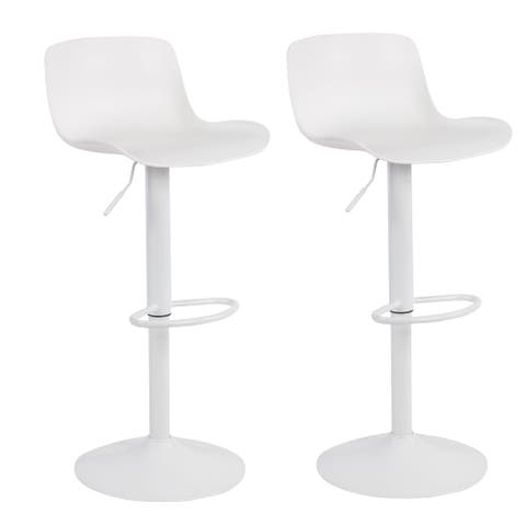 Adjustable Height Solid Color Monochromatic Bar Stool Set - N/A