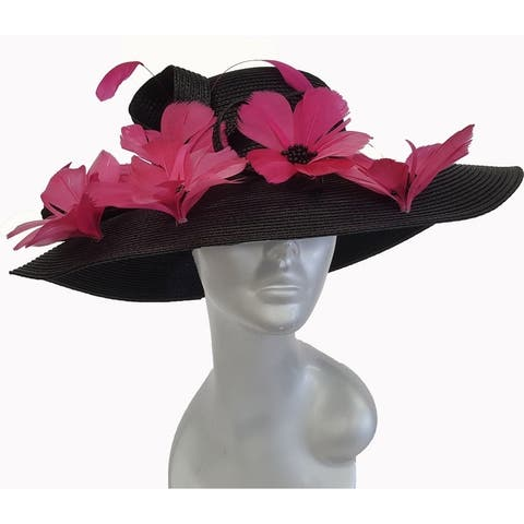 Black/Fuchsia Women's Wide Brim Poly Braid floppy Dressy Derby Hat