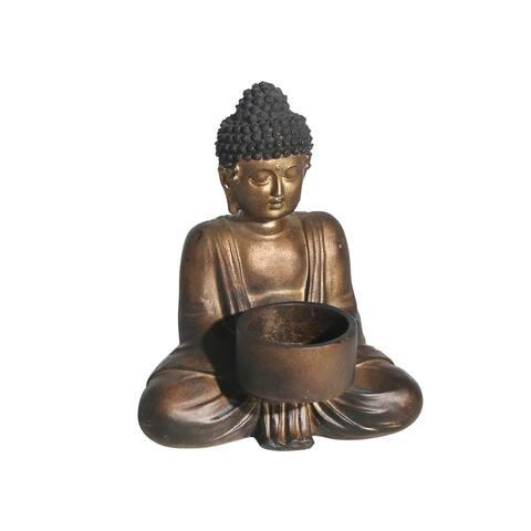 Resin Sitting Buddha Tea Light, Copper