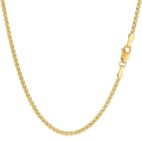 14K Yellow Gold 2MM Round Wheat Link Pendant Necklace Chain, Gold Necklace for Men & Women, Capital Jewelry