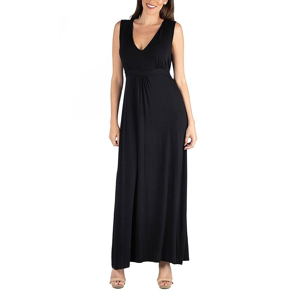 24seven Comfort Apparel V Neck Sleeveless Maxi Dress with Belt