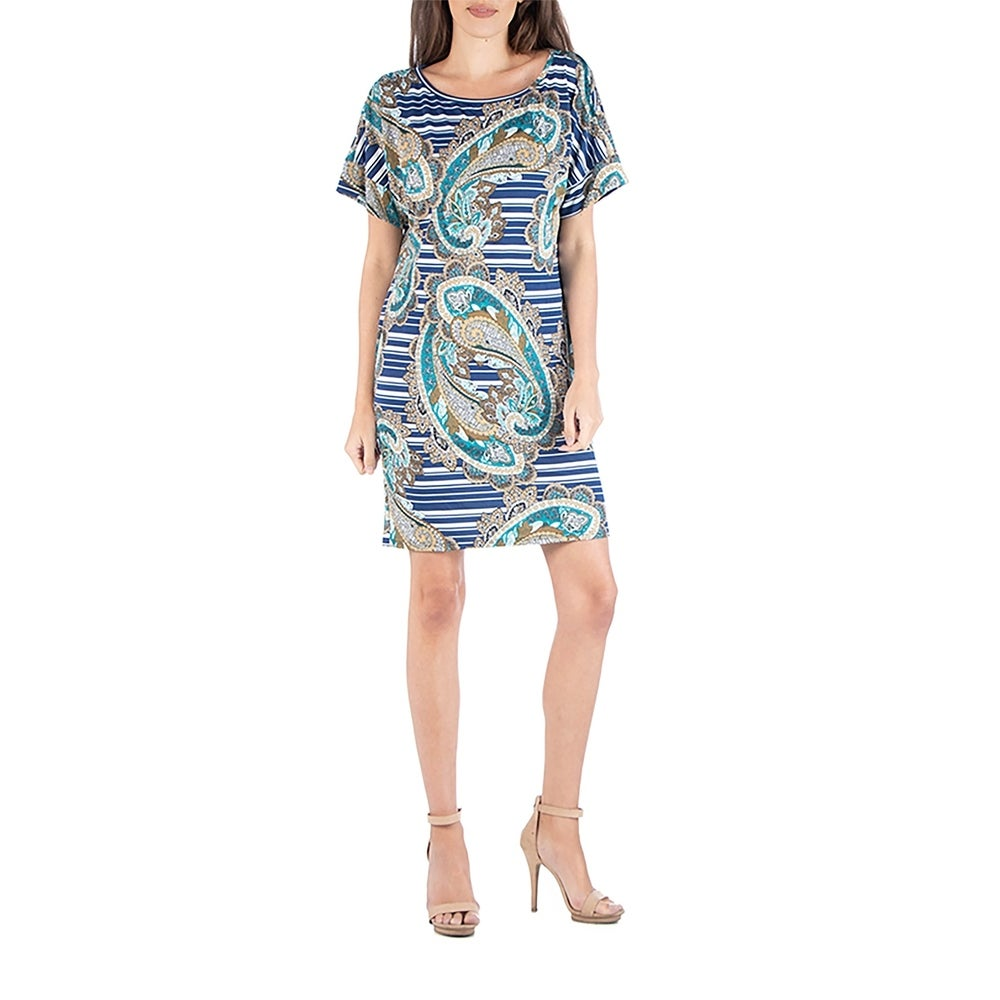 24seven Comfort Apparel Womens Loose Fit Blue Paisley T Shirt Dress