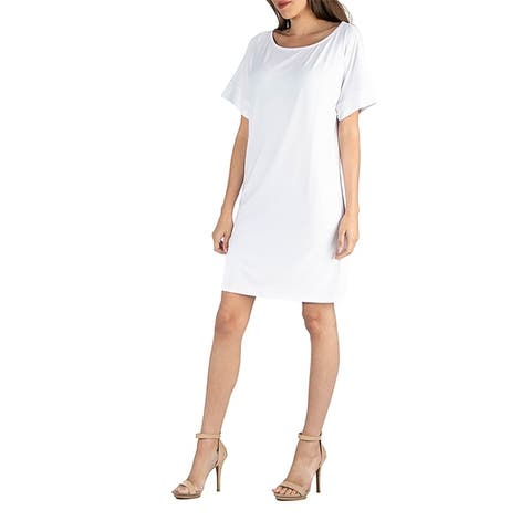 24seven Comfort Apparel Womens Loose Fit T Shirt Dress with boat Neck