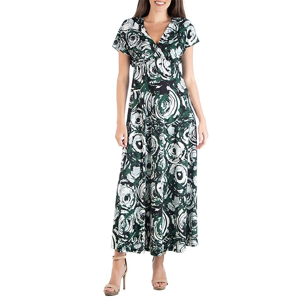 24seven Comfort Apparel Geometric Pattern Empire Waist Maxi Dress