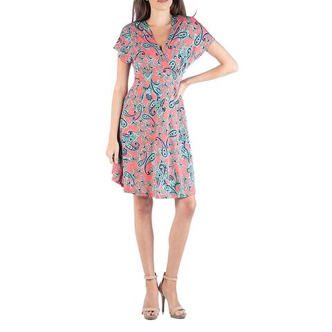 24seven Comfort Apparel V Neck Cap Sleeve Empire Waist A Line Dress
