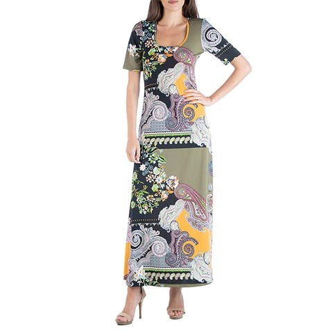 24seven Comfort Apparel Colorblock Paisley Scoop Neck Maxi Dress