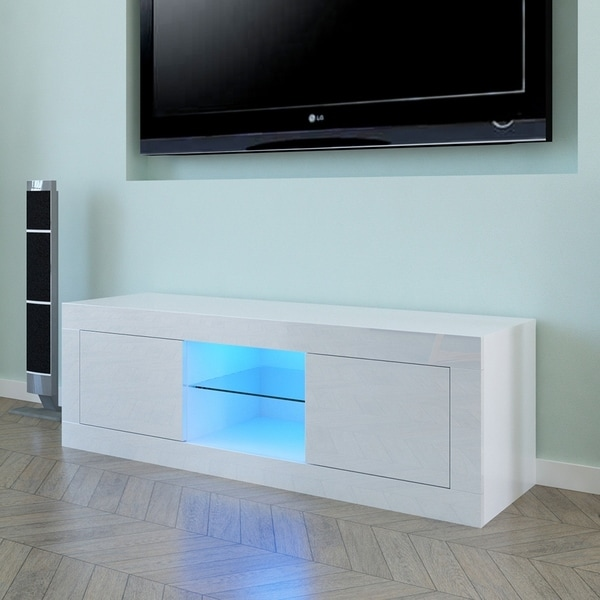 "49"" LED Two Door TV Cabinet 2 Colors. Opens flyout."
