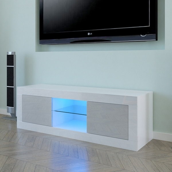 "49"" Two Door TV Cabinet White Gray Color Contrast. Opens flyout."