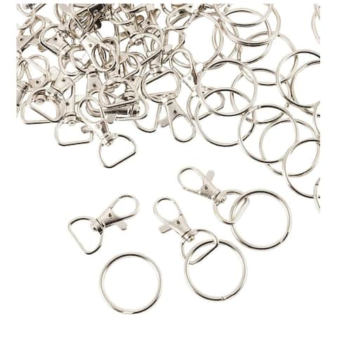 100x (50 of Each) Swivel Clasps, Metal D-Ring Lobster Clasps and Split Key Rings