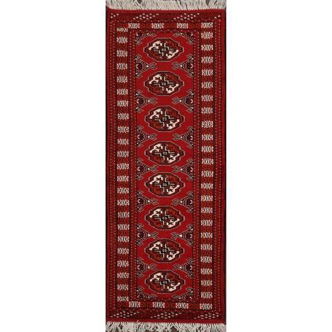 "Geometric Bokhara Oriental Red Staircase Runner Rug Handmade - 2'0"" x 5'9"""