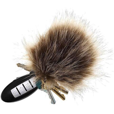18x Fluffy Faux Fur Pom Pom Balls with Elastic Rope Keychain Car Bag Charm Brown