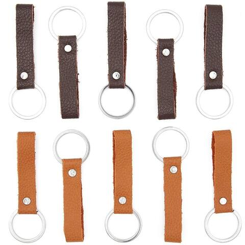 10 Pack Handmade Leather Valet Keychains, 2 Colors, 3.5 x 0.5 inch 1 inch Ring