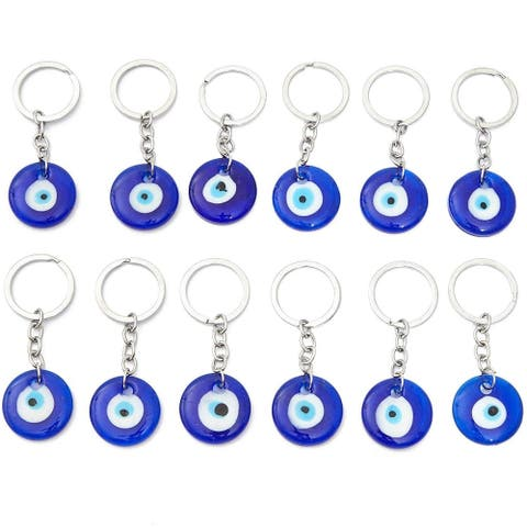 12 Pack Hamsa Evil Eye Amulet Keychains for Good Luck, Dark Blue, 3.3 inch